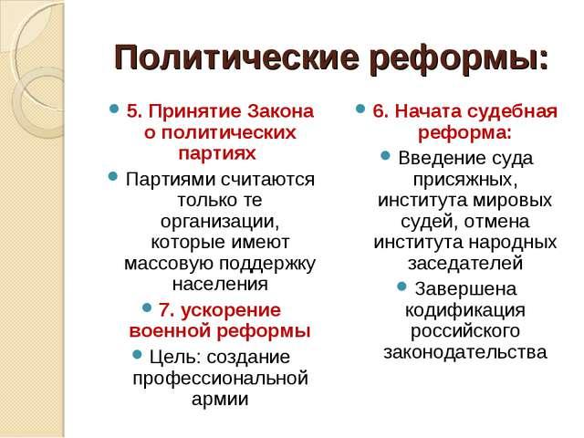 Политические реформы: 5. Принятие Закона о политических партиях Партиями счит...