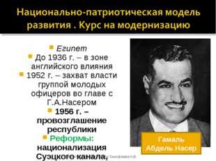 Египет До 1936 г. – в зоне английского влияния 1952 г. – захват власти группо