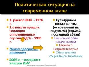 1. раскол ИНК - 1978 г. 2.к власти пришла коалиция оппозиционных партий (БДП)