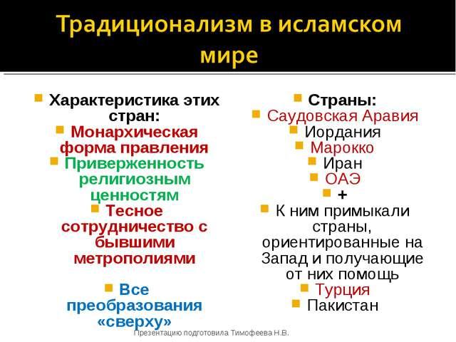 Характеристика этих стран: Монархическая форма правления Приверженность религ...