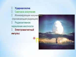 Ударная волна Световое излучение Ионизирующее излучение (проникающая радиация