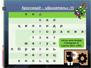 Автор кроссворда Отрощенко А. Группа №70, 2009. ход вал ци