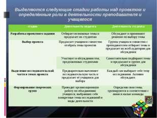 Выделяются следующие стадии работы над проектом и определённые роли в деятел