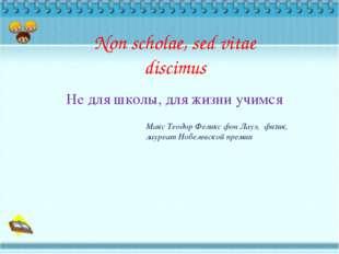 Non scholae, sed vitae discimus Не для школы, для жизни учимся Макс Теодор Фе