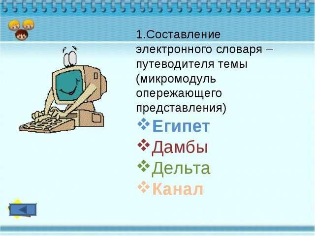 1.Составление электронного словаря – путеводителя темы (микромодуль опережающ...