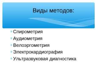 Спирометрия Аудиометрия Велоэргометрия Электрокардиография Ультразвуковая диа