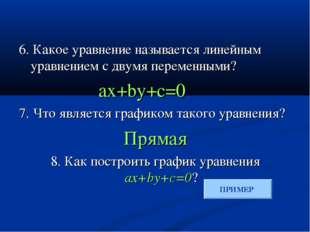 6. Какое уравнение называется линейным уравнением с двумя переменными? ax+by