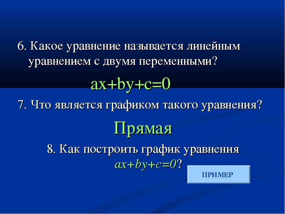 6. Какое уравнение называется линейным уравнением с двумя переменными? ax+by...