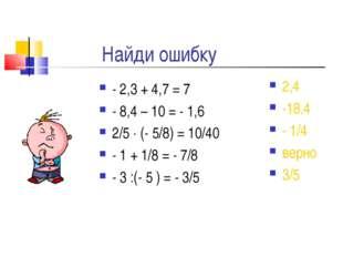 Найди ошибку - 2,3 + 4,7 = 7 - 8,4 – 10 = - 1,6 2/5  (- 5/8) = 10/40 - 1 + 1