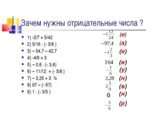 Зачем нужны отрицательные числа ? 1) -2/7 + 5/42 2) 5/16 : (- 3/8 ) 3) – 54,7