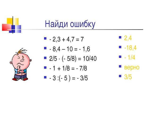 Найди ошибку - 2,3 + 4,7 = 7 - 8,4 – 10 = - 1,6 2/5  (- 5/8) = 10/40 - 1 + 1...