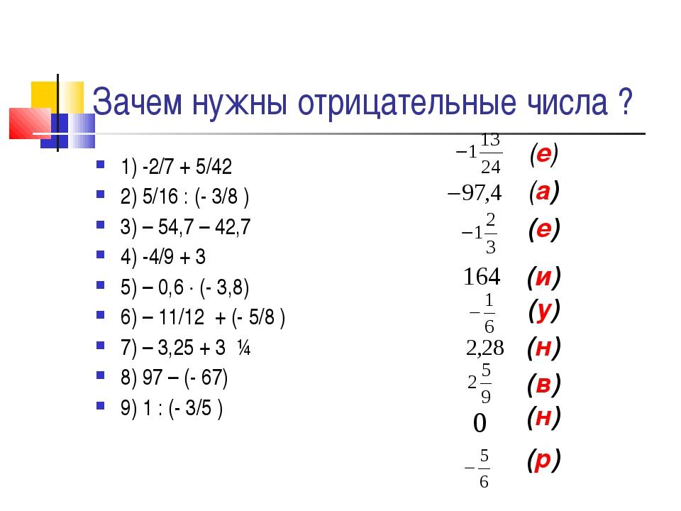 Зачем нужны отрицательные числа ? 1) -2/7 + 5/42 2) 5/16 : (- 3/8 ) 3) – 54,7...