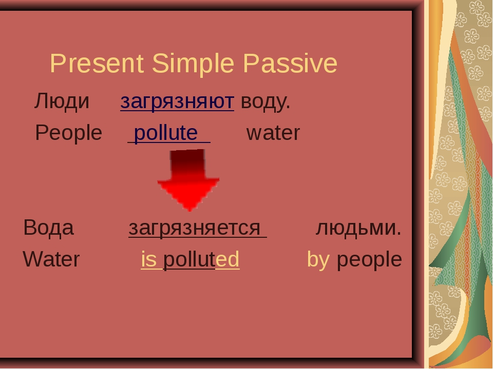 Present Simple Passive Люди загрязняют воду. People pollute water Вода загряз...