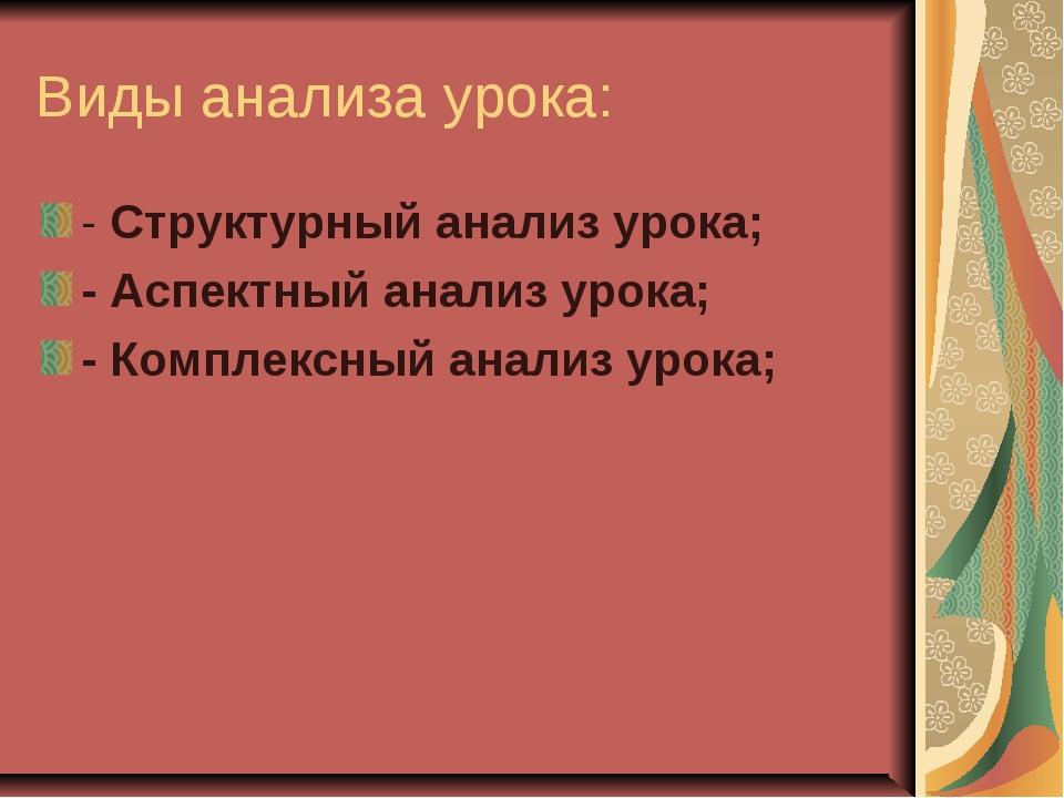 Виды анализа урока: - Структурный анализ урока; - Аспектный анализ урока; - К...