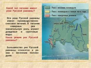 Какой тип питания имеют реки Русской равнины? Все реки Русской равнины имеют