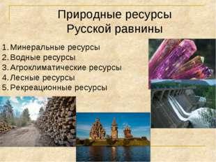 Природные ресурсы Русской равнины Минеральные ресурсы Водные ресурсы Агроклим