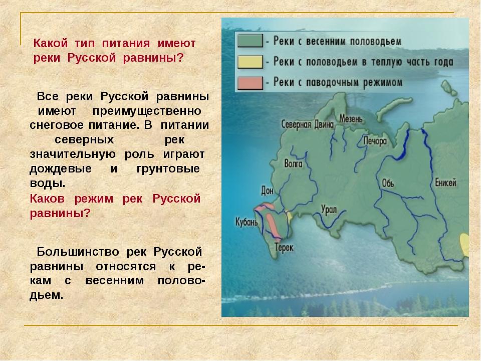 Какой тип питания имеют реки Русской равнины? Все реки Русской равнины имеют...