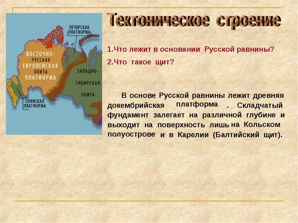 1.Что лежит в основании Русской равнины? 2.Что такое щит? В основе Русской ра...