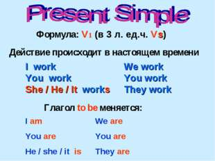 I work You work She / He / It works We work You work They work Действие проис