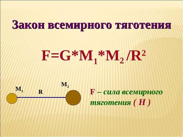 Закон всемирного тяготения F=G*M1*M2 /R2 F – сила всемирного тяготения ( Н )...