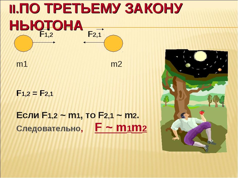 II.ПО ТРЕТЬЕМУ ЗАКОНУ НЬЮТОНА F1,2 F2,1 m1 m2 F1,2 = F2,1 Если F1,2 ~ m1, то...