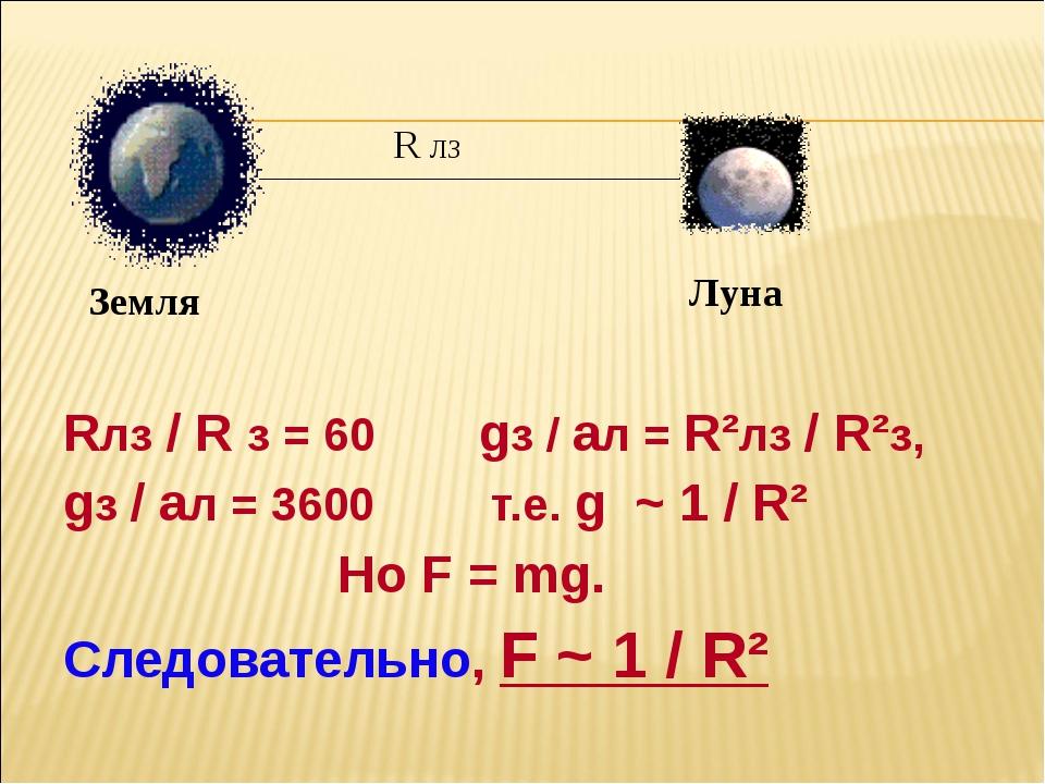 Rлз / R з = 60 gз / aл = R²лз / R²з, gз / aл = 3600 т.е. g ~ 1 / R² Но F = m...
