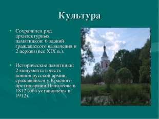 Культура Сохранился ряд архитектурных памятников: 6 зданий гражданского назна