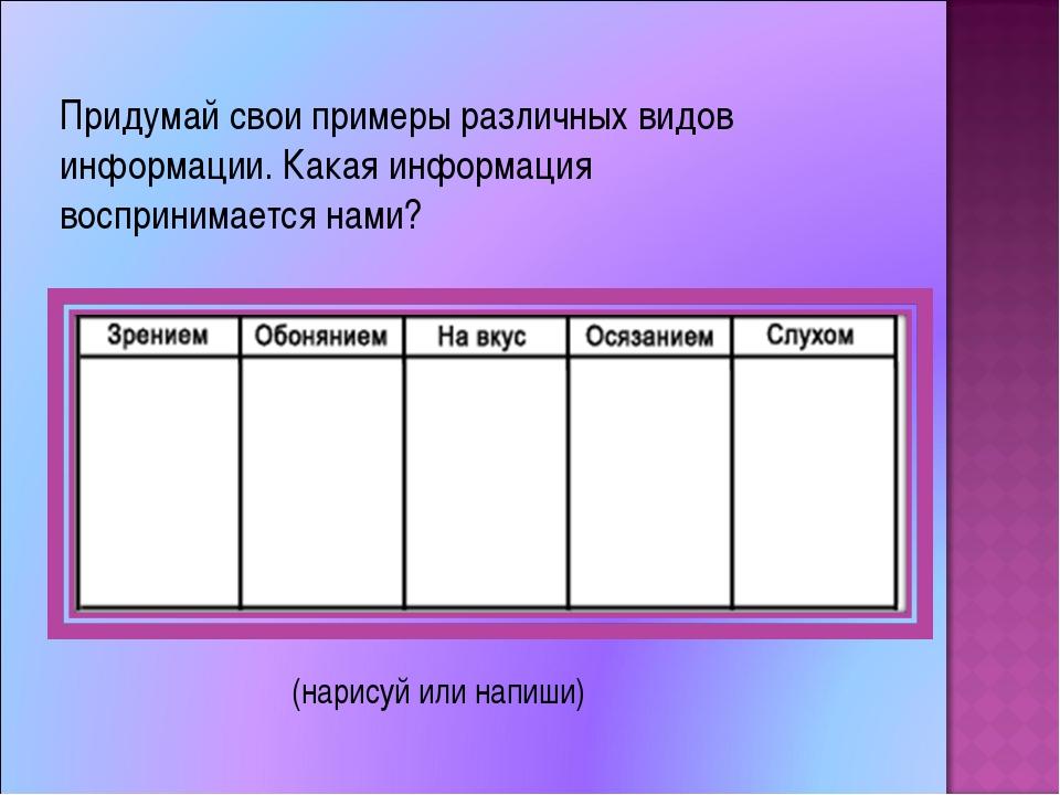 Придумай свои примеры различных видов информации. Какая информация восприним...