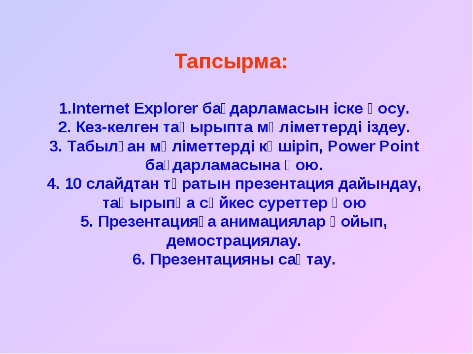 Тапсырма: 1.Internet Explorer бағдарламасын іске қосу. 2. Кез-келген тақырыпт...