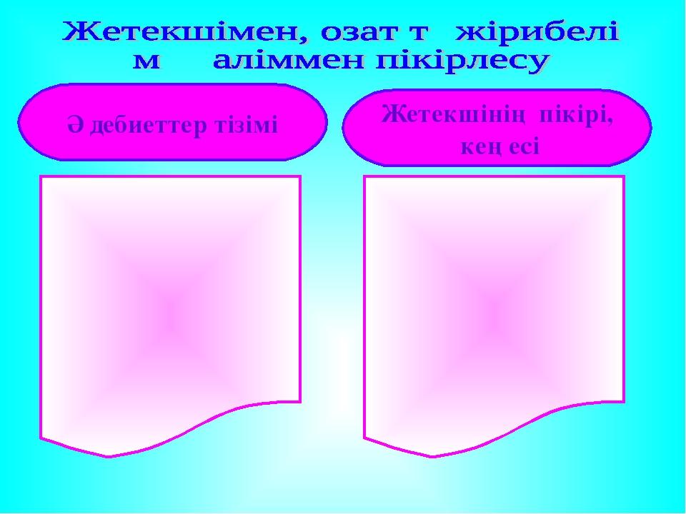 Әдебиеттер тізімі Жетекшінің пікірі, кеңесі