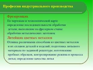 Профессии индустриального производства  Фрезеровщик По чертежам и технологич