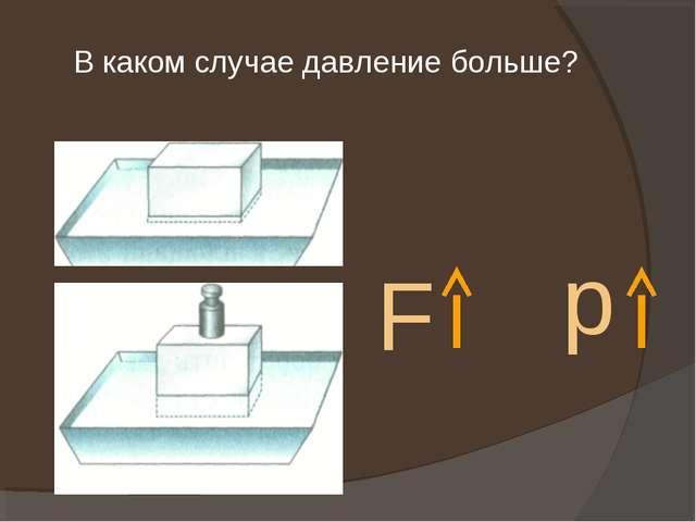 В каком случае давление больше? F p