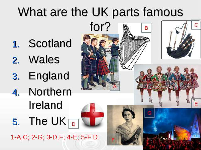 What are the UK parts famous for? Scotland Wales England Northern Ireland The...