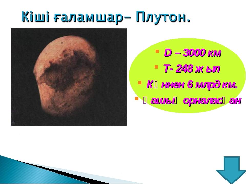 D – 3000 км Т- 248 жыл Күннен 6 млрд км. қашық орналасқан