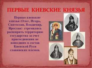 Первые киевские князья (Олег, Игорь, Святослав, Владимир, Ярослав) стремились