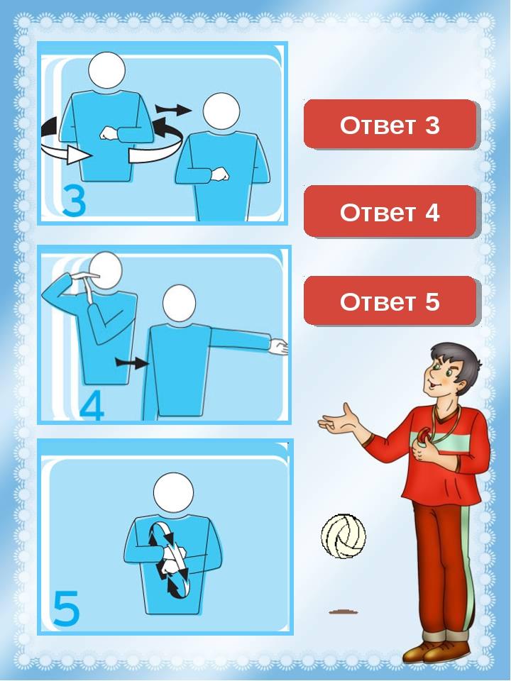 Замена Смена сторон площадки Ответ 3 Перерыв (тайм-аут) Ответ 4 Ответ 5