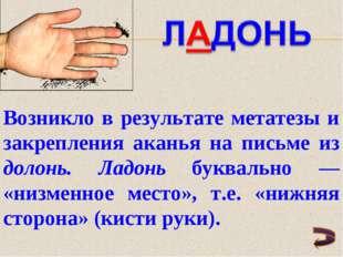Возникло в результате метатезы и закрепления аканья на письме из долонь. Ладо