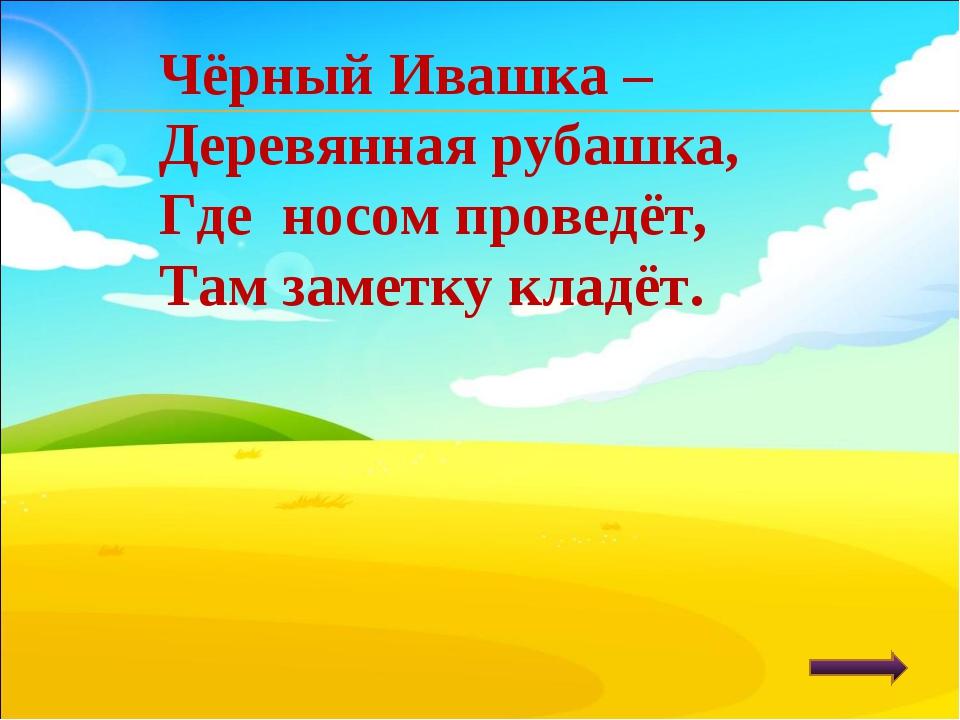 Чёрный Ивашка – Деревянная рубашка, Где носом проведёт, Там заметку кладёт.