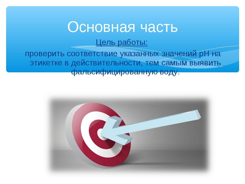 Цель работы: проверить соответствие указанных значений рН на этикетке в дейст...