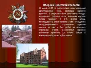 Оборона Брестской крепости 22 июня в 3:15 по крепости был открыт ураганный ар