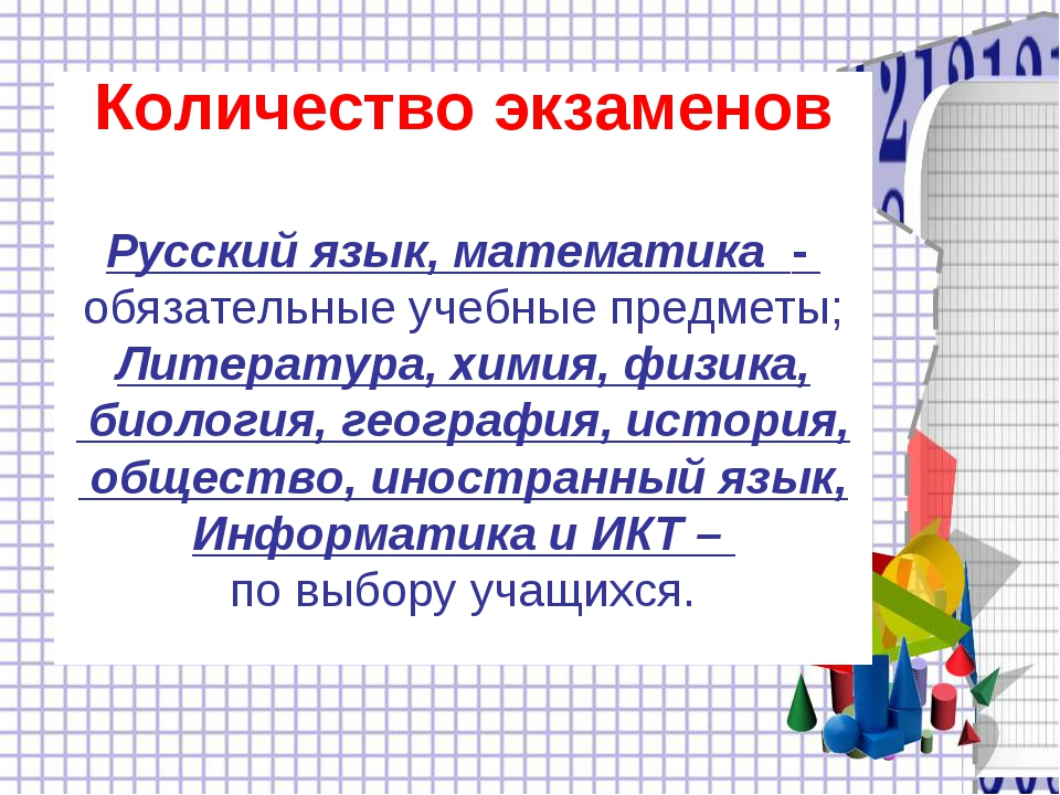 Количество экзаменов Русский язык, математика - обязательные учебные предметы...