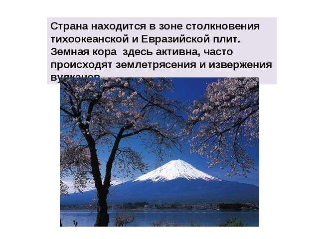 Страна находится в зоне столкновения тихоокеанской и Евразийской плит. Земная...