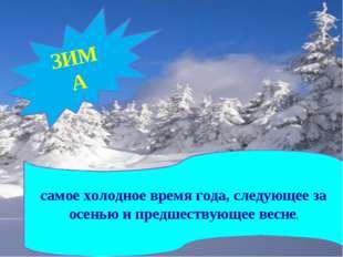 ЗИМА самое холодное время года, следующее за осенью и предшествующее весне.