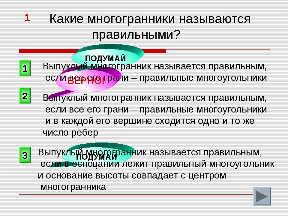 2 ВЕРНО! 1 3 ПОДУМАЙ! ПОДУМАЙ! 1 Какие многогранники называются правильными?...