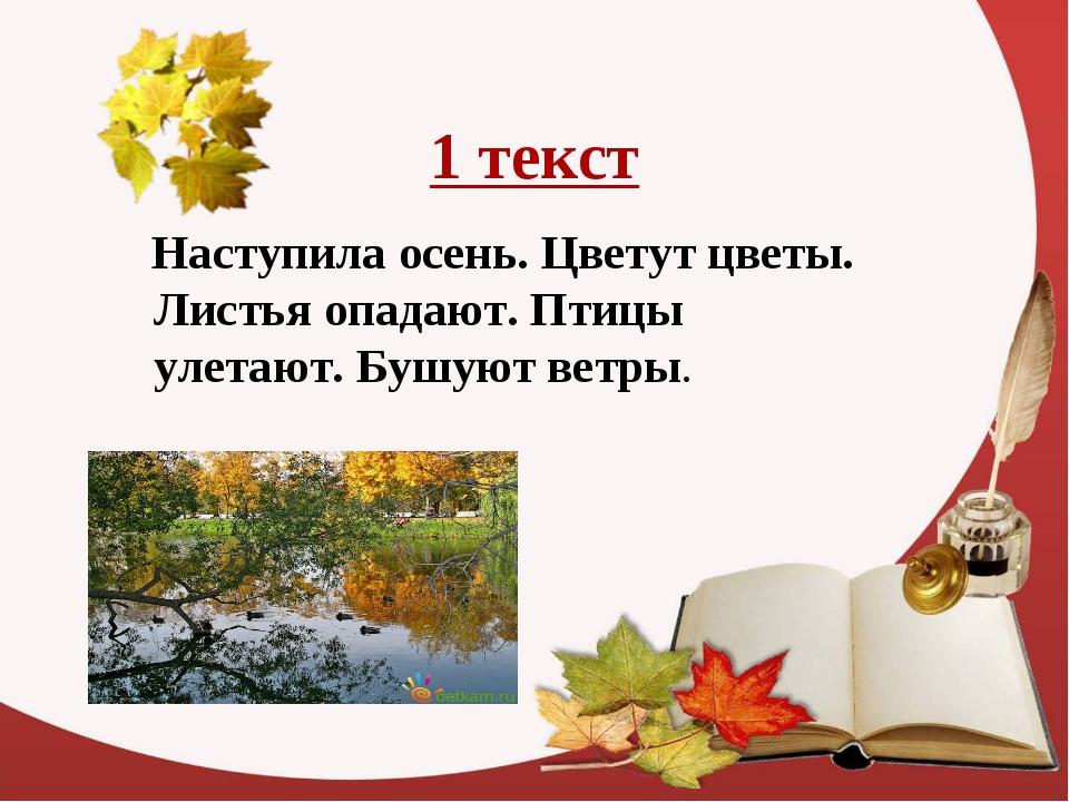 1 текст Наступила осень. Цветут цветы. Листья опадают. Птицы улетают. Бушуют...