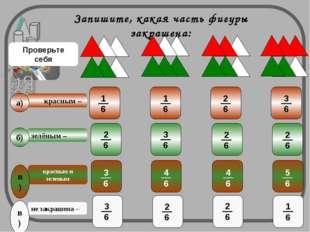 красным – не закрашена – зелёным – a) б) в) красным и зеленым в) Запишите, ка