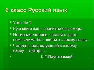 6 класс Русский язык Урок № 1 Русский язык – развитой язык мира Истинная любо