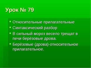 Урок № 79 Относительные прилагательные Синтаксический разбор В сильный мороз