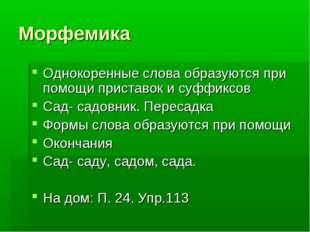 Морфемика Однокоренные слова образуются при помощи приставок и суффиксов Сад-