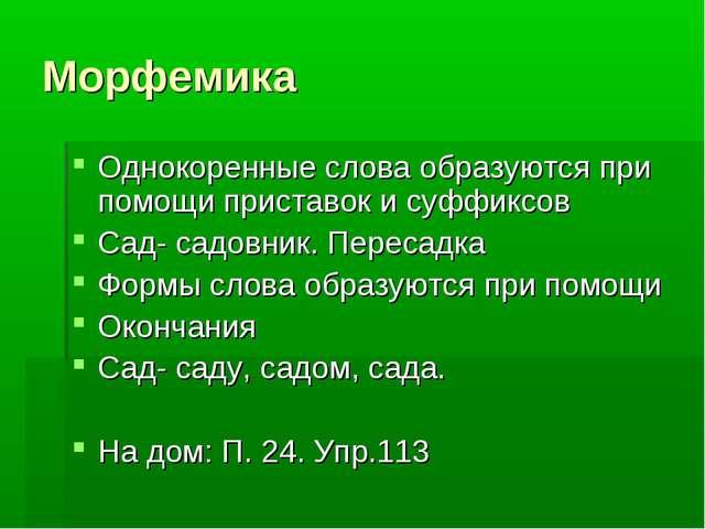 Морфемика Однокоренные слова образуются при помощи приставок и суффиксов Сад-...